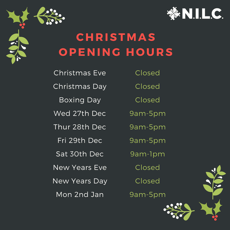 NILC's Christmas opening hours 2017