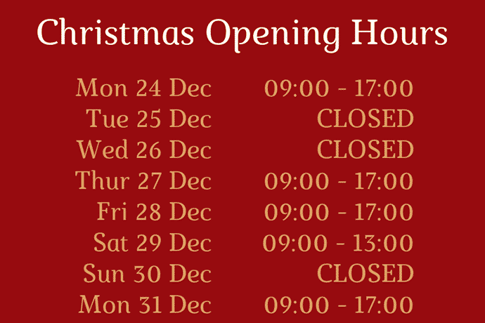 Christmas Opening Hours 2018/19