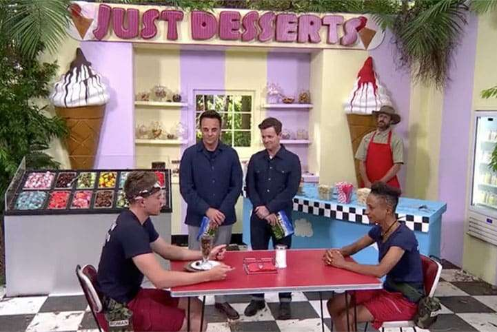 Ant and Dec presenting a Bush Tucker Trial